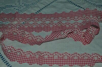 Haberdashery Old/ Braid Embroidered Flowers On Vichy Red And White 8 M X 35 Mm • 23.54£