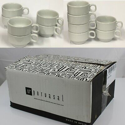 £19.99 • Buy 24 Stackable White Porcelain Coffee Cups Mugs Tea Chocolate Latte * Wholesale*