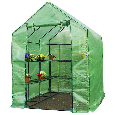 Woodside Walk In Garden Greenhouse 14 Shelf Pot Plant Growhouse With PE Cover • 89.99£