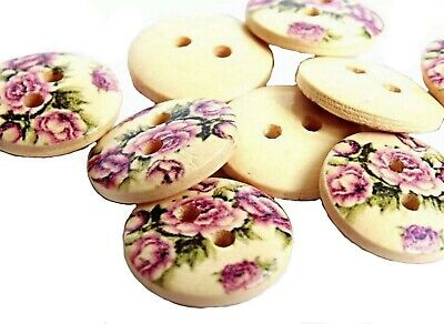 Vintage Round Shape 2 Hole Flower Rose Pattern Wooden Sewing Baby Button Craft • 1.99£