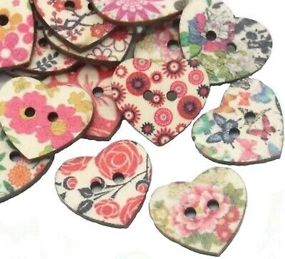 Vintage Heart Shape 2 Hole Flower Pattern Wooden Sewing Baby Button Craft Knit • 2.49£