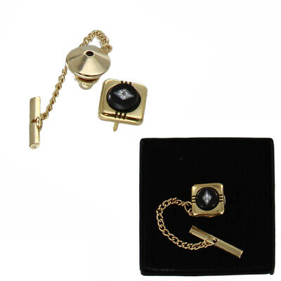 $14.42 • Buy Black Glass Inlay Rhinestone Tie Tack Chain Gold Tone Mens Boxed Made In USA