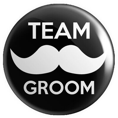 Team Groom BUTTON PIN BADGE 25mm 1 INCH Stag Do Wedding Moustache V2 • 4.99£