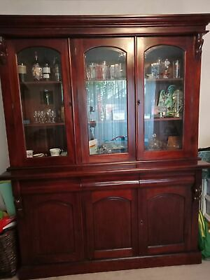 AU1395 • Buy  Solid Mahogany Victorian Style 3 Door Bookcase/Display Cabinet /Buffet Hutch