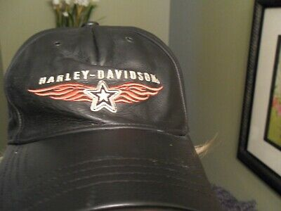 HARLEY DAVIDSON Mens Black Leather Baseball Cap Hat f50d8f8cae0