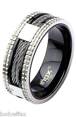 $20.49 • Buy Bold Mens Inox Black Ip Stainless Steel Inlayed Cable Grid Groove Band Ring