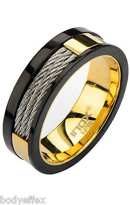 $20.49 • Buy Bold Mens Inox Gold Ip Stainless Steel Black Trim Inlayed Cable Band Ring