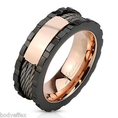 $13.50 • Buy Bold Mens Black & Rose Gold Ip Over 316l Stainless Steel Cable Wires Band Ring