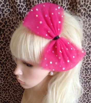 £3.99 • Buy  HOT PINK SPARKLE  BOW TULLE TUTU NET ALICE HAIR HEAD BAND 80s PARTY FANCY DRESS