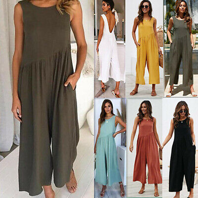 Women Baggy Romper Wide Leg Harem Pants Trousers Dungarees Loose Casual Jumpsuit • 13.98£