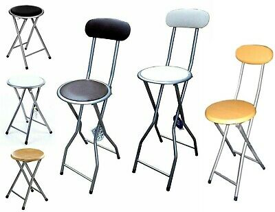 Folding Compact Padded Stool High Chair Breakfast Bar Stools Seat Home Office • 10.95£