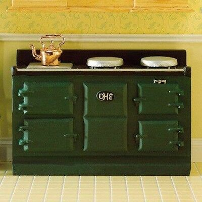 Green Aga Stove,Dolls House Miniatures, 1.12 Scale Kitchen Cooker • 9.89£