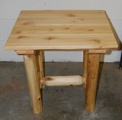 $200 • Buy NEW Rustic Amish Made QUALITY Log Side Table Furniture Solid Michigan Red Pine