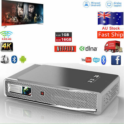 AU603.78 • Buy 8500 Lumens DLP 4K HD 1080P Android Home Theater Projector 3D Dual WIFI 16G HDMI