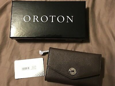 AU75 • Buy New Oroton Tri-fold Wallet- CHOCOLATE-LEATHER Rrp $225 (new In Box) Must Have.