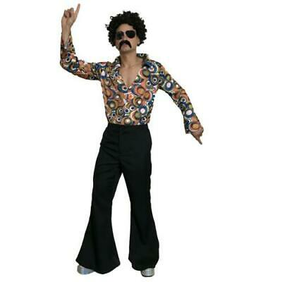 £10.99 • Buy 60s 70s Black Flared Trousers Mens Disco Groovy Fancy Dress Saturday Night Fever