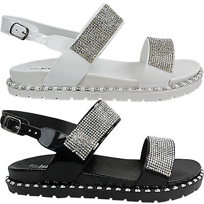 £7.95 • Buy Womens Ladies Flat Studded Diamante Straps Open Toe Summer Sandals Shoes Size