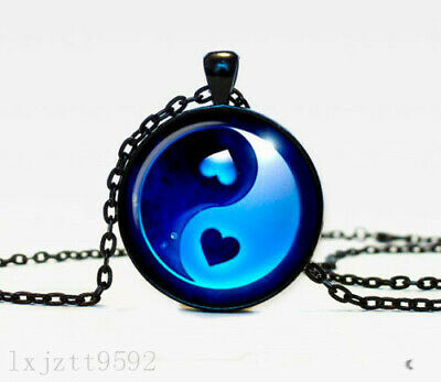 AU2.66 • Buy Ying Yang Charm Glass Dome Cabochon Black Chain Necklace Pendant Jewelry (WC117)