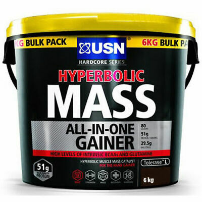 £51.99 • Buy USN Hyperbolic Mass 6kg All In One Weight Gainer Protein Powder Shake Chocolate