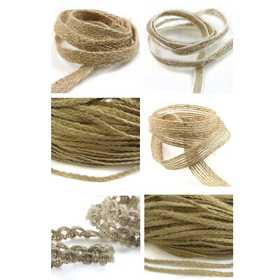Rustic Plaited Hessian Woven Jute Burlap Rope *6 Styles* Wedding Trimming Ribbon • 1.79£