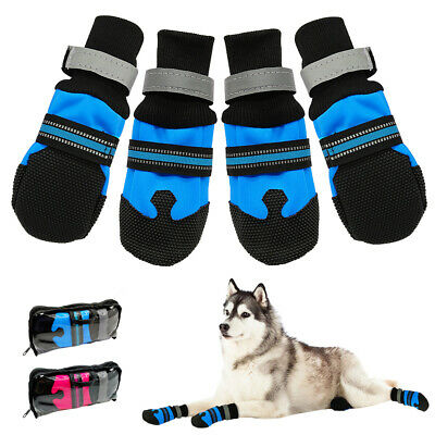 Dog Shoes Waterproof Large Protective Snow Boots Liner Blue Reflective Anti-slip • 9.99£