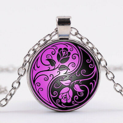 AU2.66 • Buy Yin Yang Roses Photo Tibet Silver Cabochon Glass Pendant Chain Necklace
