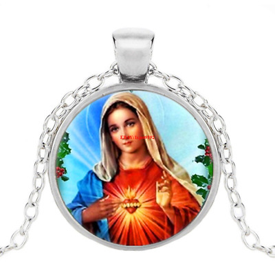 £1.38 • Buy Mother Heart Of Mary Photo Tibet Silver Cabochon Glass Pendant Chain Necklace