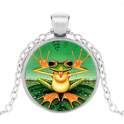 £1.38 • Buy Cute Frog Photo Tibet Silver Cabochon Glass Pendant Chain Necklace