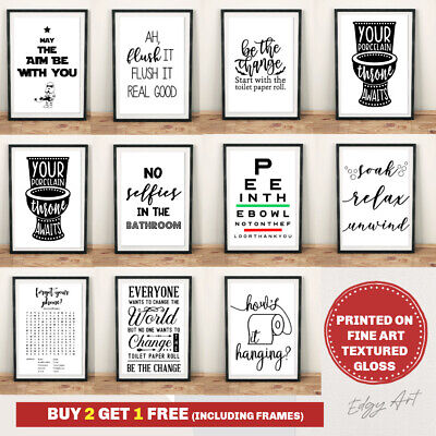 Bathroom Prints Wall Art Poster. Quality Toilet Funny Home Pictures Un / Framed • 3.49£
