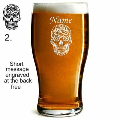 Personalised  Engraved Beer Pint Glass Sugar Skull  Birthday Gift / Any Occasion • 7.99£