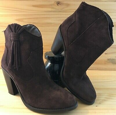 d615a6cd59131b Ladies JESSICA SIMPSON Ankle Boots 7.5M Leather Suede Brown Western • 35.00