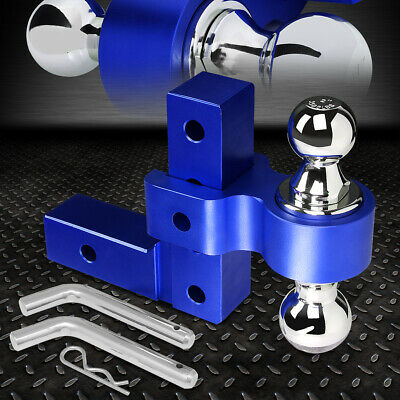 Aluminum Dual Ball 6  Drop Adjustable Trailer Tow Towing Hitch 2  Receiver Blue • 75.98$