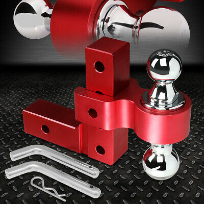 Aluminum Dual Ball 6  Drop Adjustable Trailer Tow Towing Hitch 2  Receiver Red • 76.99$