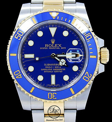$ CDN18196.05 • Buy Rolex Submariner 116613 Two Tone 18K Yellow Gold /Steel Blue Ceramic Watch *MINT