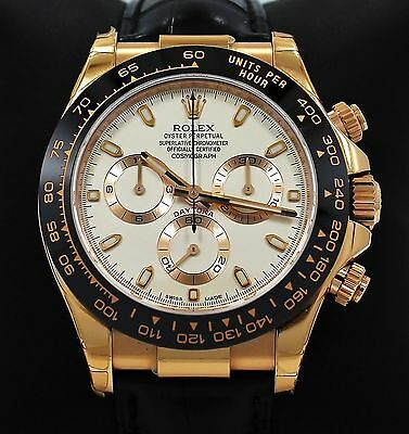 $ CDN44123.88 • Buy Rolex Daytona 116515 Cosmgraph 18K Rose Gold Ivory Leather Band Watch *BRAND NEW