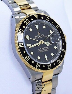$ CDN13887.35 • Buy  Rolex GMT-MASTER II 16713 Two Tone 18K Yellow Gold/SS Black Gold Buckle Mint