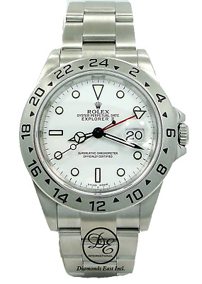 $ CDN10352.06 • Buy Rolex Explorer II 16570 GMT Date White Dial Men's Watch No Holes In Case *MINT*