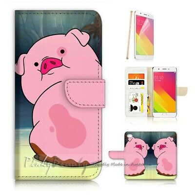AU12.99 • Buy ( For Oppo A57 ) Wallet Case Cover P21744 Pink Pig