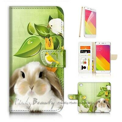 AU12.99 • Buy ( For Oppo A57 ) Wallet Case Cover P21749 Cute Rabbit