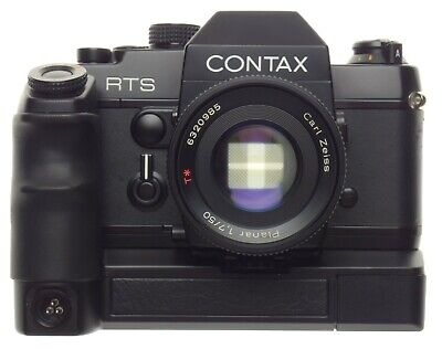 $ CDN1248.55 • Buy Zeiss Contax RTS 35mm SLR Camera Planar 2/50mm Prime Lens Motor Grip Vented Hood