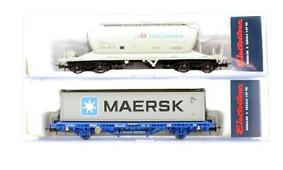 Electrotren Ho Scale Pair Of Wagons Cement, Container Wagon With Load (5r) • 49.50£