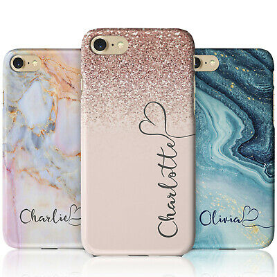 Personalised Marble Glitter Flowing Name With Heart Phone Case For IPhone Models • 9.99£