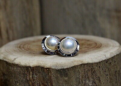 $485 • Buy 14Kt White Gold Mabe Pearl Earrings !