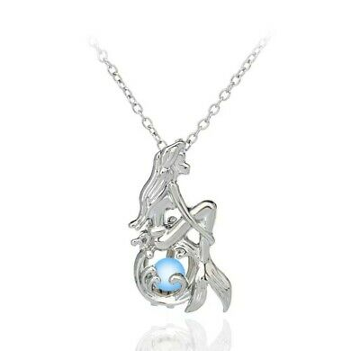 Disney Ariel Little Mermaid Silver Glow In The Dark Pearl Necklace In A Gift Bag • 5.25£