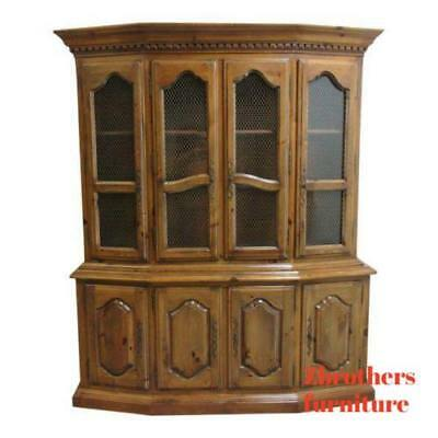Ethan Allen Country French Cau Normandy Break Front China Cabinet Hutch 909 00