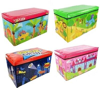 Boys Girls Kids Large Folding Storage Toy Box Books Chest Clothes Seat Stool • 11.85£