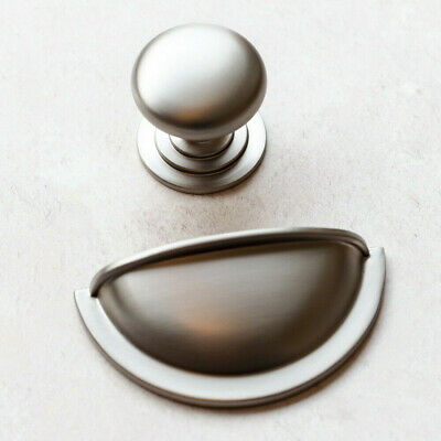 Brushed Nickel Handles | Cup & Knob | For Furniture, Kitchens, Cabinets • 1.99£