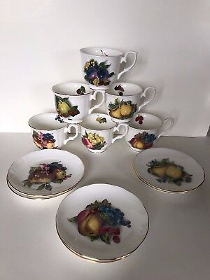 Royal Nobilta Fine Bone China Fruit Pattern Set Of 6 Tea Cups & Saucers • 42.93£