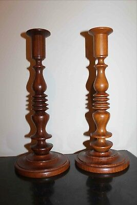 $39 • Buy PAIR Of HAND TURNED Wooden Spindle CANDLESTICKS, 9.5  Tall
