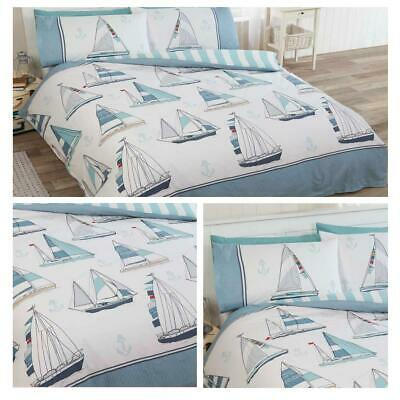 Blue Duvet Covers Sail Away Nautical Boat Yacht Striped Quilt Cover Bedding Set • 16.95£